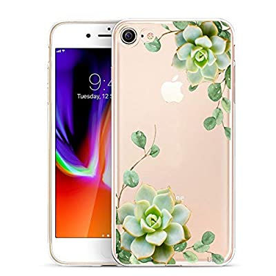 Unov Case for iPhone SE (2020) iPhone 8 iPhone 7 Clear with Design Embossed Pattern TPU Soft Bumper Shock Absorption Slim Protective Back Cover 4.7 Inch (Succulent Plant)