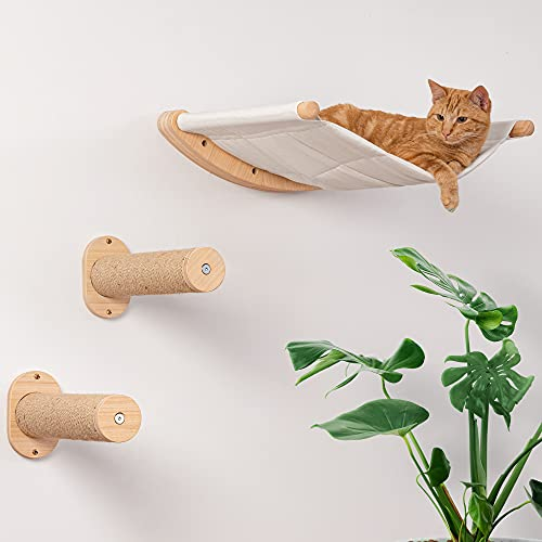 7 Ruby Road Cat Hammock Wall Mounted Cat Shelf with Two Steps - Cat Wall Shelves and Perches for Sleeping, Playing, Climbing, and Lounging - Modern Cat Bed & Furniture for Large Cats or Kitty