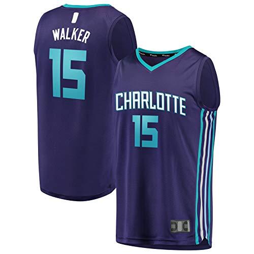 YUEJI Camiseta de baloncesto Charlotte de Charlotte con diseño de Hornets Traning Jersey #15 Kemba Top sin mangas Walker al aire libre Declaración Edición-XL