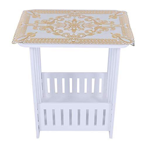 Wit met een opbergmand aan de onderkant waterdicht, vochtbestendige theetafel, tafel met opbergtafel, voor thuiskantoor, hotel(34 * 26 * 40cm)