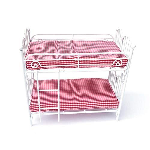 Juguete con literas diseño de corazón con ropa de cama roja para regalo de niña - Wetour