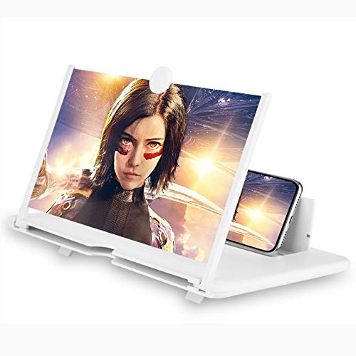 12'' 3D Phone Screen Magnifier – HD Magnifier Projector Screen Enlarger for Videos, Movies, Games – Foldable Phone Stand with Screen Amplifier – Supports All Smartphones (White)