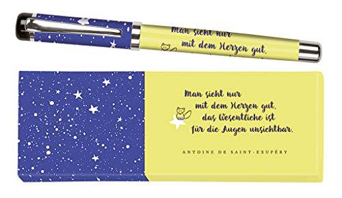 moses. libri_x Tintenroller Antoine de Saint-Exupéry | Tintenschreiber mit austauschbarer blauer Mine | In einer Geschenkschachtel