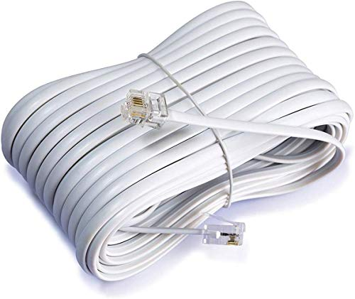 iMBAPrice 50 Feet Long Telephone Extension Cord Phone Cable Line Wire - White