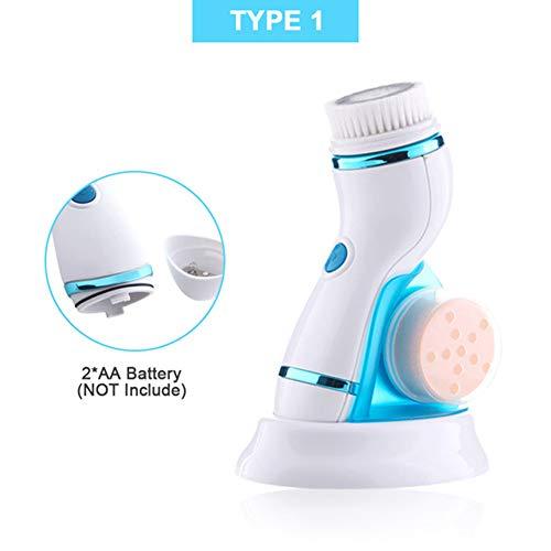 LNLJ 4 in 1 ultrasone elektrische gezichtsreinigingsborstel – oplaadbaar apparaat, IPX6 waterdicht, dieptereiniging, peeling, mee-eterverwijderingslaag, 2 snelheden instelbaar