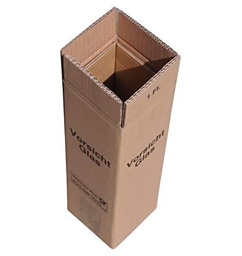 20 x Weinversandkarton Weinkarton für 1 Flasche DHL und UPS zertifiziert - Je 1 Umkarton - 1 Hülse - 1 Deckel
