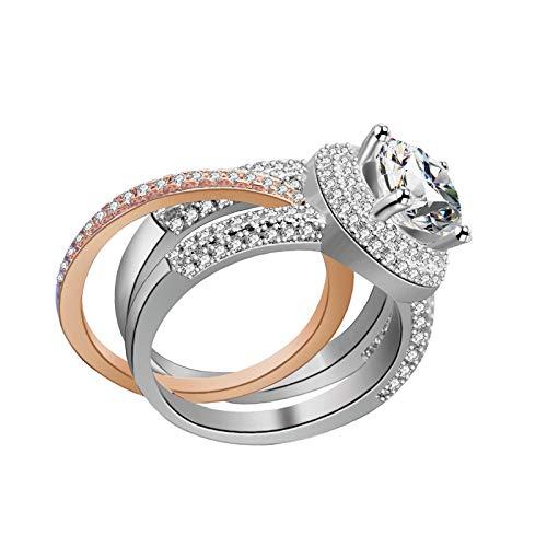 litulituhallo Juego de anillos de boda redondos chapados en oro rosa y chapado en platino
