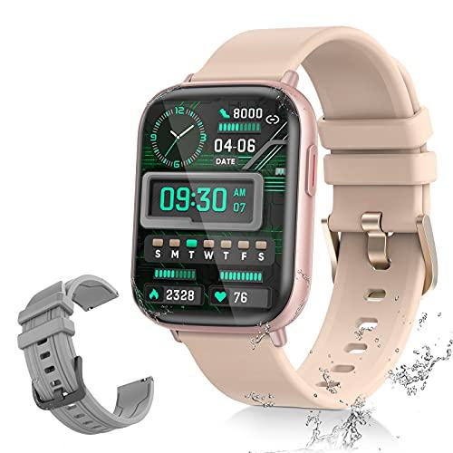 Smartwatch AMOLED 1,65 Zoll Touchscreen Sport Armbanduhr Fitness Tracker mit Herzfrequenz Blutoxegen-Monitor ATM5 Wasserdicht mit Schrittzähler Schlafmonitor für Mann Frau für IOS Android