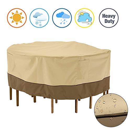 SHDlYE Beschermhoes voor rond tuintafel, afdekhoes, meubelsets, beige, waterdicht en winterbestendig, Oxford-beschermhoes voor tuintafel, zitgroep