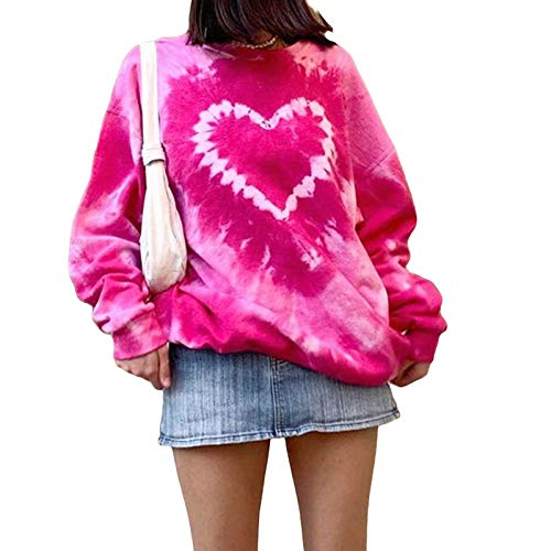 GuliriFe Damen Pilz Stickerei Pullover Sweatshirt Y2K Langarm Pullover Tunika Casual Rundhals Hoodie Tops 90S Streetwear (Rose Rot, M)