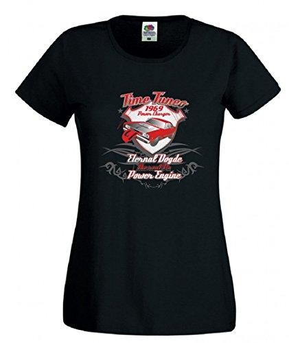 Camiseta con texto 'Time Tuner 1969', 'Power Changer Eternal dogde The real v8 Power Engine Music Rock n Roll Bike, viaje, palmeras de 80er, para hombre y mujer, 104-5XL Negro  Para Hombre Talla : X-Large