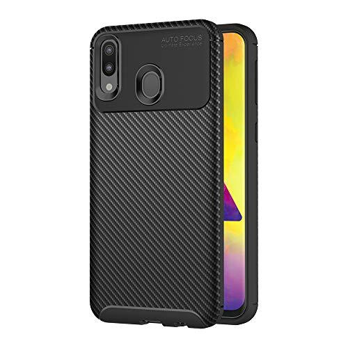 AICEK Compatible Samsung Galaxy M20 Hülle, Schwarz Silikon Handyhülle für Samsung M20 Schutzhülle Optik Karbon Soft Hülle (6,3 Zoll)