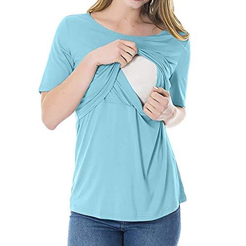 Kobiety macierzyństwo topy do karmienia z krótkim rękawem bluzka do karmienia piersią odzież dla kobiet ubrania macierzyństwo macierzyństwo bluzka ciążowa, Niebieski, M