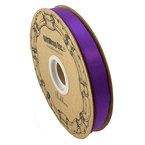 Purple Satin Fabric Decorative Ribbon - 5/8' x 100 Yards, Easter, Holiday Decor, Garland, Gifts, Wrapping, Wreath, Gift Bow, Christmas, Cancer Awareness, Mother's Day, School Dance, Mardi Gras