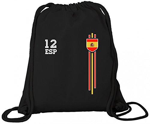 Espana Spain World Cup Fussball WM Fanfest Gruppen Premium Bio Baumwoll Turnbeutel Rucksack Stanley Stella Streifen Trikot Spanien, Größe: onesize,Black