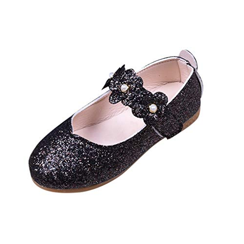 Great Price! Kariwell Toddler Girls Ballet Flats Shoes, Mary Jane Shoes Solid Flower Bling Student D...