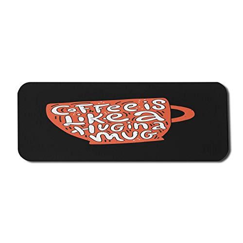 Koffein Computer Mouse Pad, Kaffee ist wie eine Umarmung in einem Becher Typografie Humorvolle Nachricht Grafik, Rechteck rutschfeste Gummi Mousepad große Holzkohle grau Orange