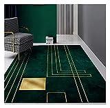 Area Rug Carpet Modern, Nordic Luxury Deep Emerald Green Carpets Geometric Gold Lines White Marble Mosaic Area Rugs Livingroom Bedroom Sofa Soft Non-Slip Floor Mat (6090cm)