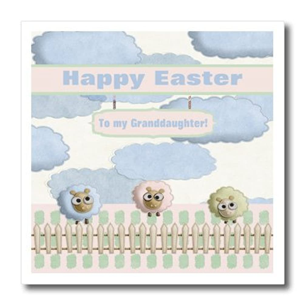3dRose Pastel Sheep Behind Fence, Blue Clouds in Sky, Happy Easter Granddaughter-Iron on Heat Transfer, 6 by 6