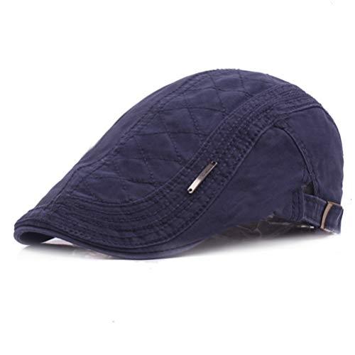 RICHTOER Retro Berets England Cotton Newsboy Cap Flat Caps Hunting Hat Autumn Outdoors (Navy)