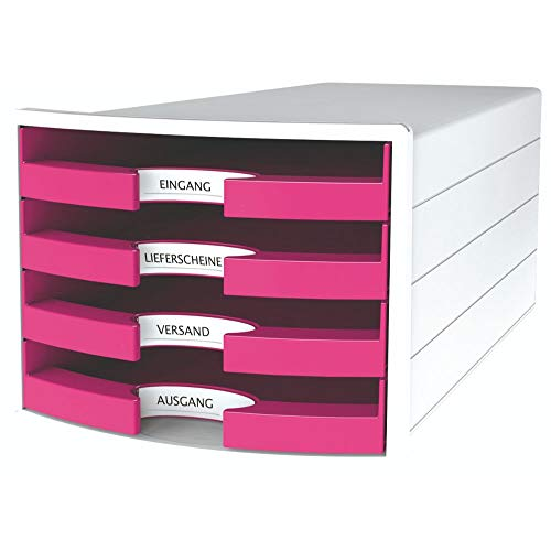 HAN Schubladenbox IMPULS 2.0 – innovatives, attraktives Design in höchster Qualität. Mit 4 offenen Schubladen für DIN A4/C4, weiß-pink, 1013-56