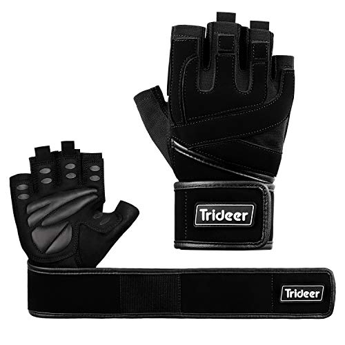 Trideer Padded Anti-Slip Weight Lifting Gloves with 18' Wrist Wraps, Pro Gym Gloves Support for Weightlifting, Cross Training, Gym Workout…