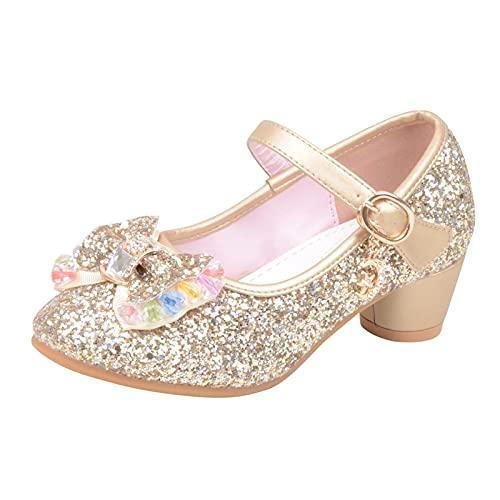 Scarpe da principessa, 20 pezzi, scarpe da ballo, Mary Jane con paillettes e paillettes per bambini, per matrimoni, feste, cosplay, sandali in pelle con tacco, gold, 33 cm EU