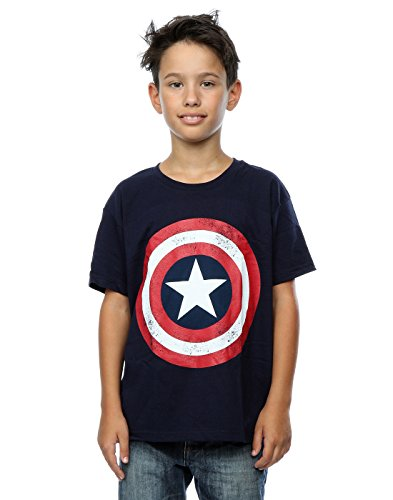 Marvel niños Captain America Distressed Shield Camiseta 5-6 Years Armada