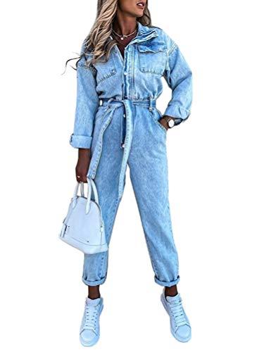 Minetom Jeanslatzhose Damen Jeans Overall Jumpsuit Hosenanzug Einteiler Latzhose Jeans Lange Hose Denim Playsuit Jeans Vintage Hoseanzug A Blau S
