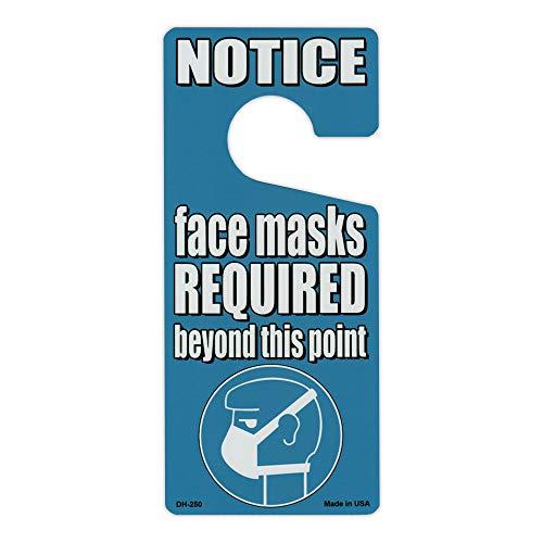 Crazy Novelty Guy Door Knob Hanger, Metal, Notice, Face Masks Required Beyond This Point, Blue, 4' x 9' Premium Quality Aluminum Door Hanger