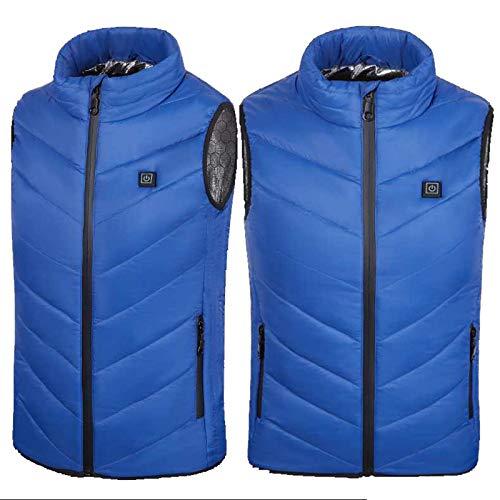 LBMY Calentada Chaleco, Camisa de Calentamiento eléctrico niños, Lavable calienta la Chaqueta, 5V USB Escudo Chaqueta con 3 Temperatura de Camping al Aire Libre Senderismo Pesca,Azul,120cm