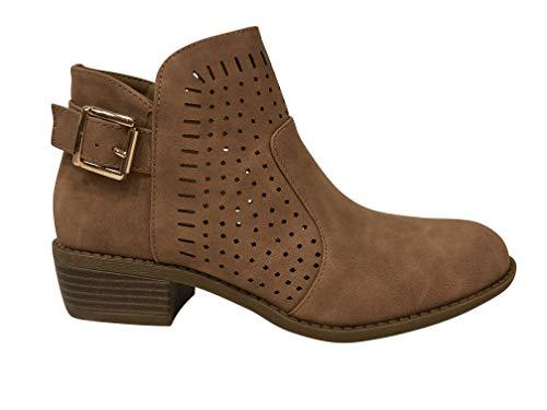 Bella Marie Women's Gilmore-25 Side Zip Stacked Block Heel Boot Ankle Bootie (9, Chestnut)