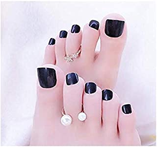 VIKSON INTERNATIONAL 1 Set 24pcs Black Artificial False Toe Nails Tips for Nail Art Decorations Foot Manicure Beauty Tools...