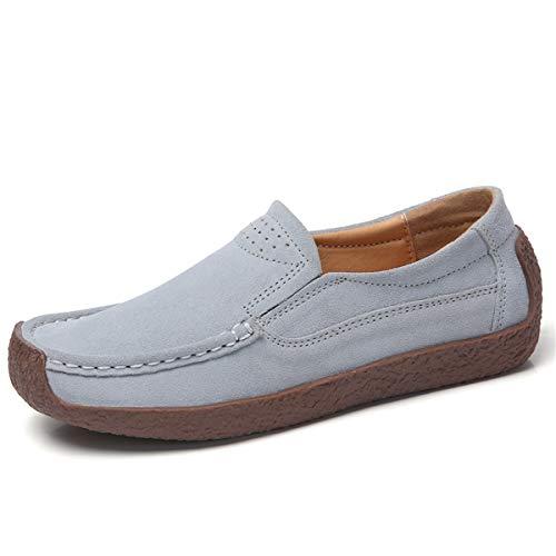 AARDIMI Mokassins Damen Bootsschuhe Loafers Halbschuhe Casual Fahren Schuhe Wildleder Slip on Slipper Erbsenschuhe (39 EU, Grau)