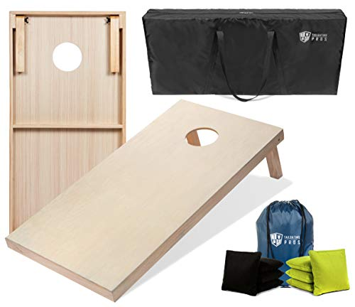 Tailgating Pros Cornhole Boards - 4'x2' & 3'x2' Cornhole Game w/Carrying Case & Set of 8 Corn Hole Bags - 150+ Color Combos!