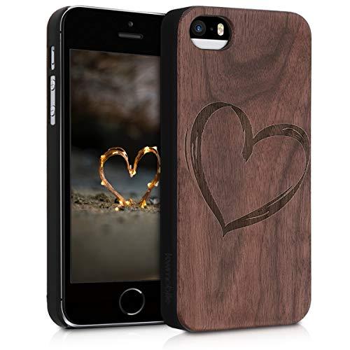 kwmobile Schutzhülle kompatibel mit Apple iPhone SE (1.Gen 2016) / 5 / 5S - Hülle Handy aus Holz - Cover Hülle Handyhülle Herz Brush Dunkelbraun