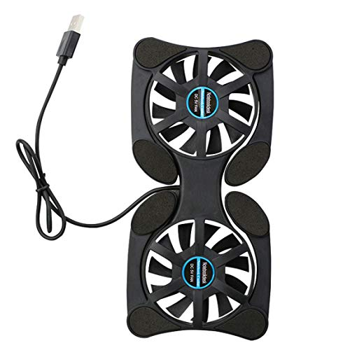 Pumprout Mini Ventilador portátil para Ordenador portátil, Ventilador Plegable, USB, Ventilador Doble, Almohadilla de refrigeración para Ordenador portátil