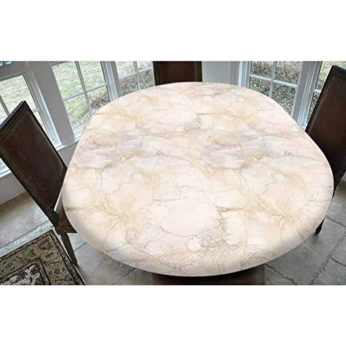 Marble Polyester Fitted Tablecloth,Pink and Peach Marble Background with Crack Patterns Architecture and Building Material Decorative Oblong Elastic Edge Fitted Table Cover,Fits Oval Tables 68x48' Bei