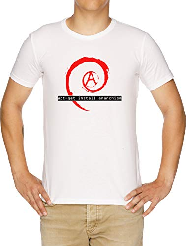 Apt-Get Install Anarchism Camiseta Hombre Blanco