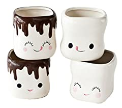 Set of four ceramic marshmallow shaped mugs. Mugs measure 2.75 inches tall x 2.75 inches wide in diameter and are microwave and dishwasher safe. Each mug holds 6 ounces. Each mug comes with its own hot cocoa recipe card for giving. Please note measur...