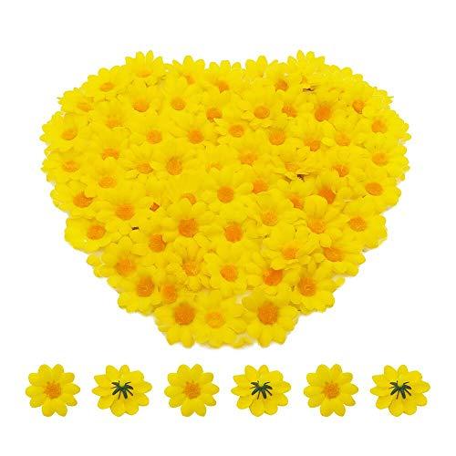 Bornfeel Margarita Artificial 100 Piezas Gerbera artificial Adorno para Oficina Casa Manualidades Bodas Fiestas Tela Amarillo 3.8 x 3.8 x 2 cm