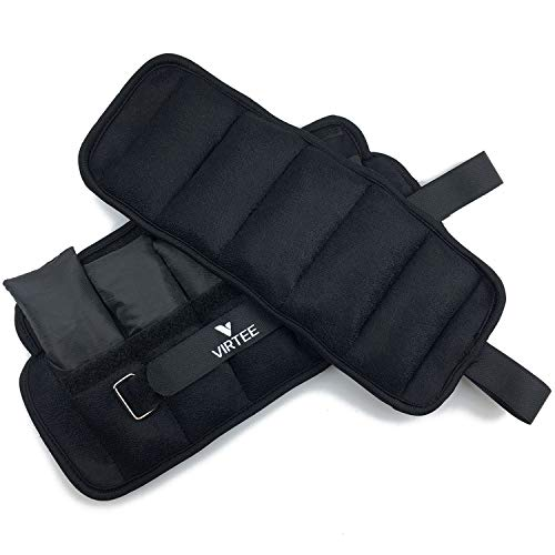 Virtee Adjustable Ankle Weights for Women and Men, Wrist Weight Set 1-10 lbs (1 Pair) with Removable Weight for Jogging, Walking, Gym, Fitness, 1-5 lbs Each Pack, 2 Pack