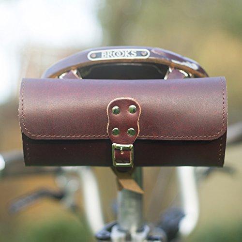 Fahrrad Sattel Tasche echt Leder Vintage Stil Cherry braun