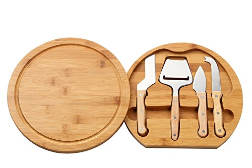 Juvale Cheese Board Set - Charcuterie Board and Cheese Tools Cheese and Meat Board Includes 1 Bamboo Cutting Board and 4 Piece Knife Tools 102 x 102 x 15