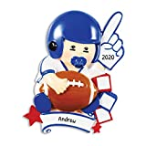 Personalized Future Football Star Christmas Tree Ornament 2020 - Young Child Fan Cheering Glove Lego Block Little Daddy's Boy Hobby Star NFL Grand-Son Kid Toddler Gift Year - Free Customization