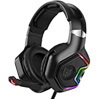 Onikuma K10 Pro Over Ear Wired Gaming Headset with 7.1 Surround Sound, Noise Canceling Mic (Black)