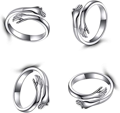 2PCS Hug Ring - Silver Hug Ring for Women Men, Sterling Silver Can Be Adjusted Anniversary Birthday Gifts Love Hug Hands One Size Couples Wedding Ring