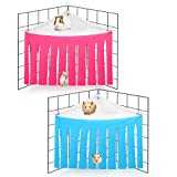 2 Pieces Guinea Pig Hideout Corner Fleece Forest Hideaway Curtain Hideouts Small Animals Hammock Sleeping Bed for Guinea Pigs Ferrets Chinchillas Rats and Bunny (Rose Red, Light Blue)