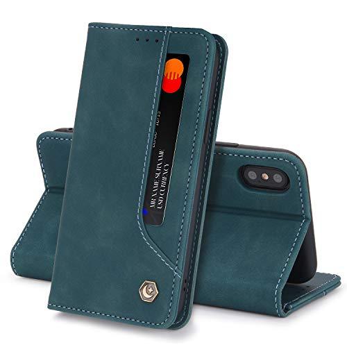 Funda Compatible con iPhone X/XS Carcasa,iPhone XS MAX Fundas Cartera con Ranuras Tarjetas Cierre Magnético Cuero Flip Protector Antigolpes Tapa (iPhone XS MAX, Verde)