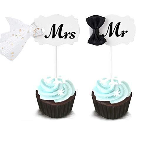 Amycute 20 Personalisierte Kuchendeckel Hochzeit Kuchen Topper, Mr & Mrs Tortenstecker,Hochzeits-Deko,Kuchen-Deko, Hochzeits-Torte,Hochzeits-Geschenk
